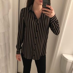 Pinstripe Lightweight Collared Blouse